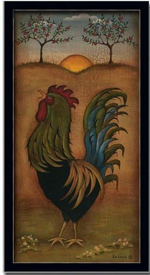 Rooster french country kitchen decor folk art print framed for French kitchen artwork