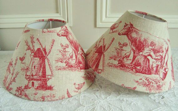A UNIQUE PAIR of French Toile de Jouy fabric lampshades 16 x