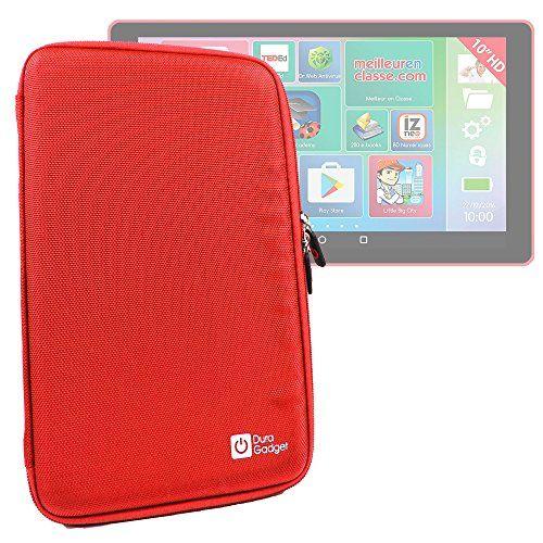 Coque étui rigide en rouge pour Lexibook LEXITAB MFC511FR tablette enfant 10 pouces – tablette tactile – résistant à l'eau – DURAGADGET