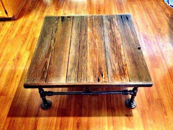 Industrial Square Coffee Table with Reclaimed Wood and Black Pipe on Etsy, $255.00