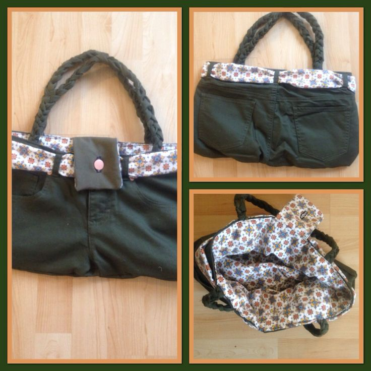 Upcycled pants made into purse.  By Upcycled_Diva