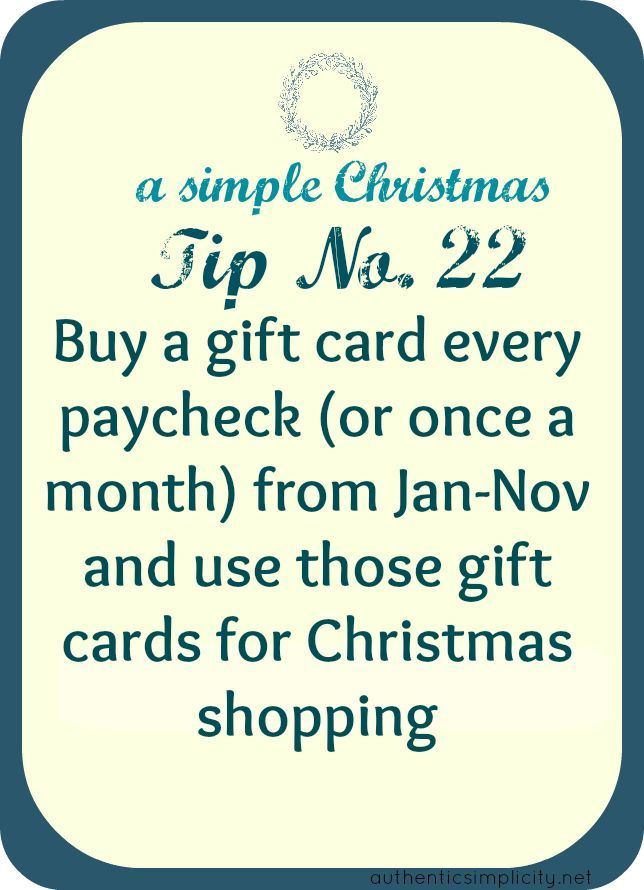 smart idea for saving money on christmas gifts, and not having to spend all your money in one month.