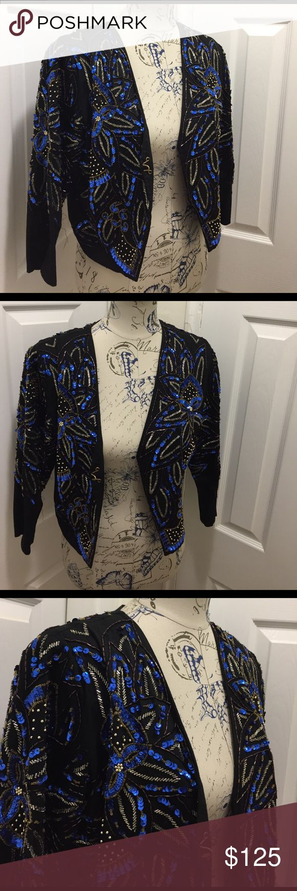 """BEADED JACKET Beautiful Beaded jacket. So much more beautiful in person. See 7th pic where there are missing beads. Totally unnoticeable. No stains. Length 18.5"""" Sleeve 18"""" and underarm to underarm 18"""". Hook closure. See pics. Open to offers. Topshop Jackets & Coats"""