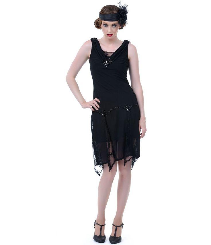 Unique Vintage Black Hemingway Flapper Dress perfect on Halloween!
