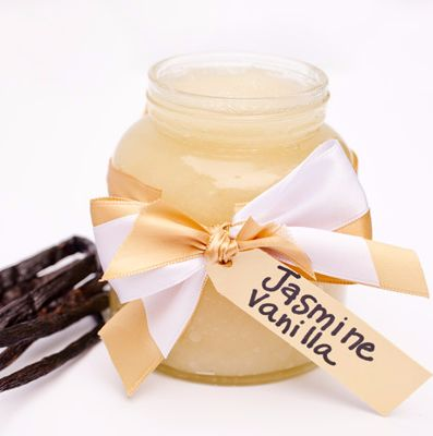 Jasmine Vanilla Sugar Scrub-Jasmine, a popular flower with a strong and sweet fragrance, blooms only at night. Luckily, you can enjoy the benefits Jasmine provides any time of day with this homemade sugar scrub.