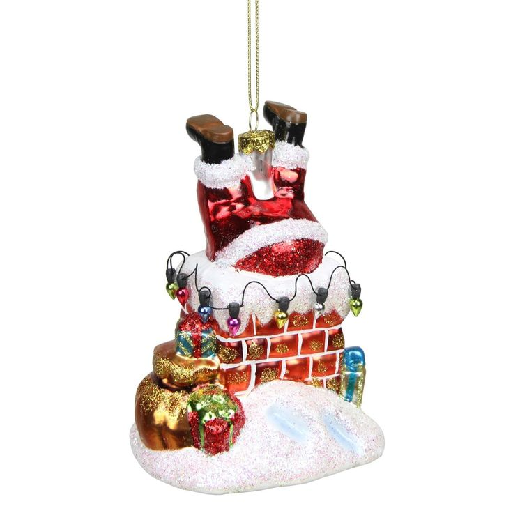 5 Glass Santa with Chimney Decorative Christmas Ornament