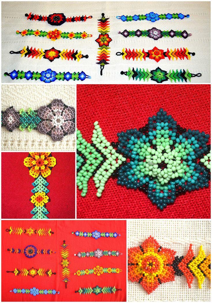Pulsera artesanal Mexicana con material en Chaquira en diversas formas y colores. Arte Huichol. $ 20.00 cada una. Mexican handmade bracelet beads material in various shapes and colors . Huichol art . $ 20.00 each.