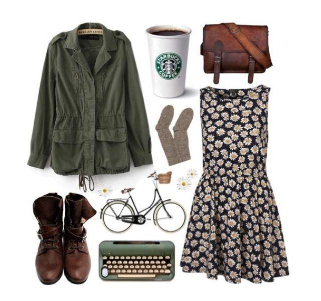 Daisy dress Boots Typewriter Bike Leather satchel Cozy socks Cute jacket Starbucks
