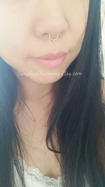Fake Nose Ring Septum Nose Ring Hoop With Bead by SimplyyCharming