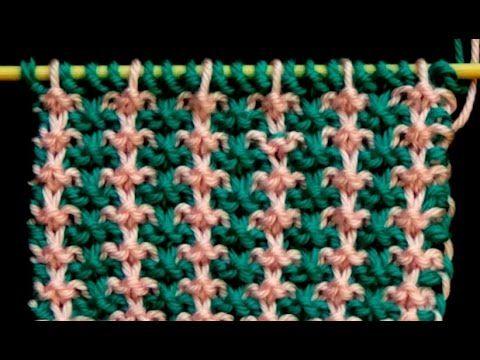 Cómo Tejer Punto Bordado en Colores-Embroidery Stitches Colors-2 Agujas (318) - YouTube