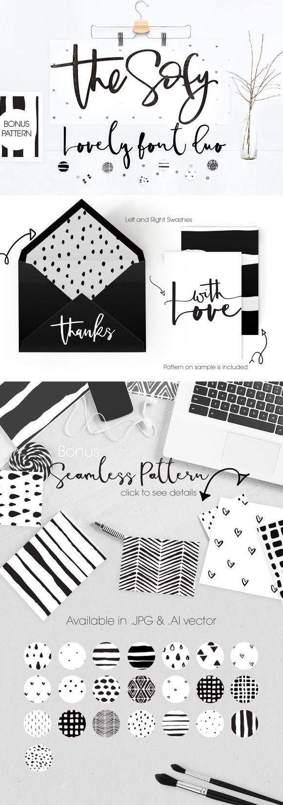 The Sofy Font Duo +Pattern+Freebie by mycandythemes on @creativemarket