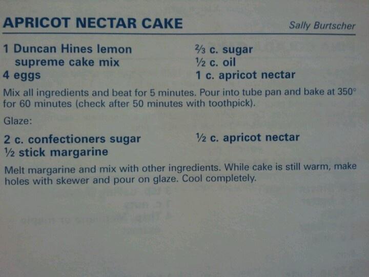 Apricot Nectar Cake Recipe Lemon Jello: Cake Mixes And Lemon