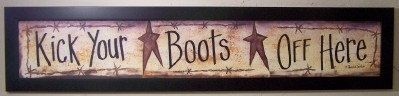 Kick Your Boots off Here sign long hand crafted framed take shoes off western on Etsy, $39.99