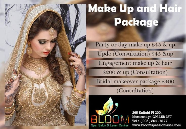 Bloom Presents Special Package Of Hair & MakeUp   Party Or Day Makeup $45 & Up  Updo ( Consultation ) $45 & Up  Engagement Make Up & Hair Style $200 & Up  ( Consultation )  Bridal MakeOver Package $400  ( Consultation )  For APPOINTMENT & More QUERIES : Call : 904-804-8177 Visit : www.bloomspasalonlaser.com #SalonNSpa #Nails #Beauty #Fashion #Manicure #Beautiful #Cute #Pedicure #Silver #BridalMakeup