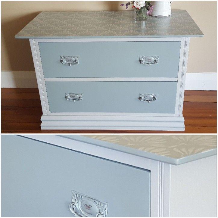 Sweet Oak dresser with hand stenciled top.