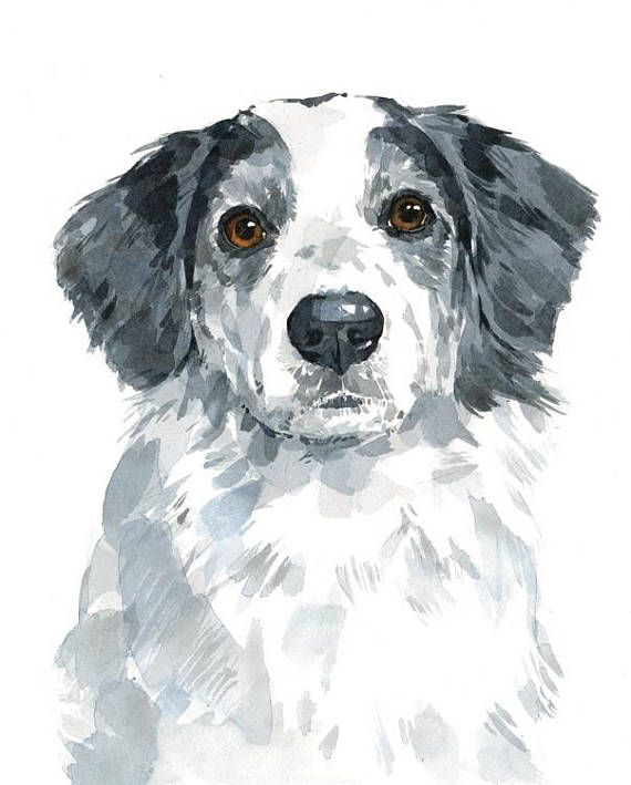 8x10 Custom Pet Portrait Original Watercolor Painting Of Your Dog