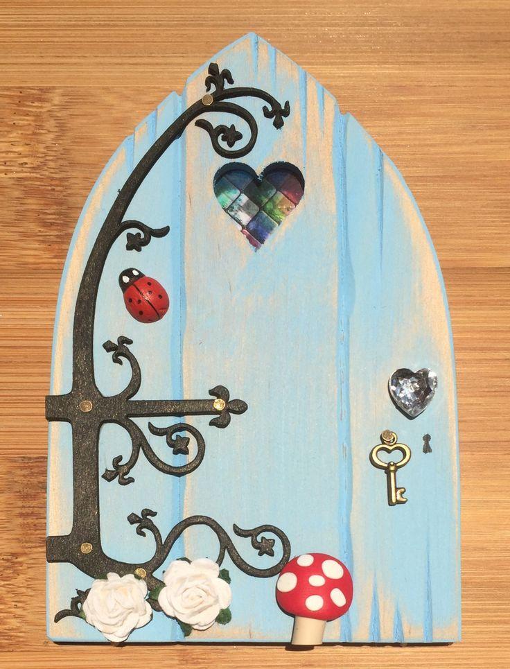 Oaktree Fairies - The Welsh Fairy Door Company. Sky Blue Fairy Door with new Fairytale hinge! www.oaktreefairies.co.uk