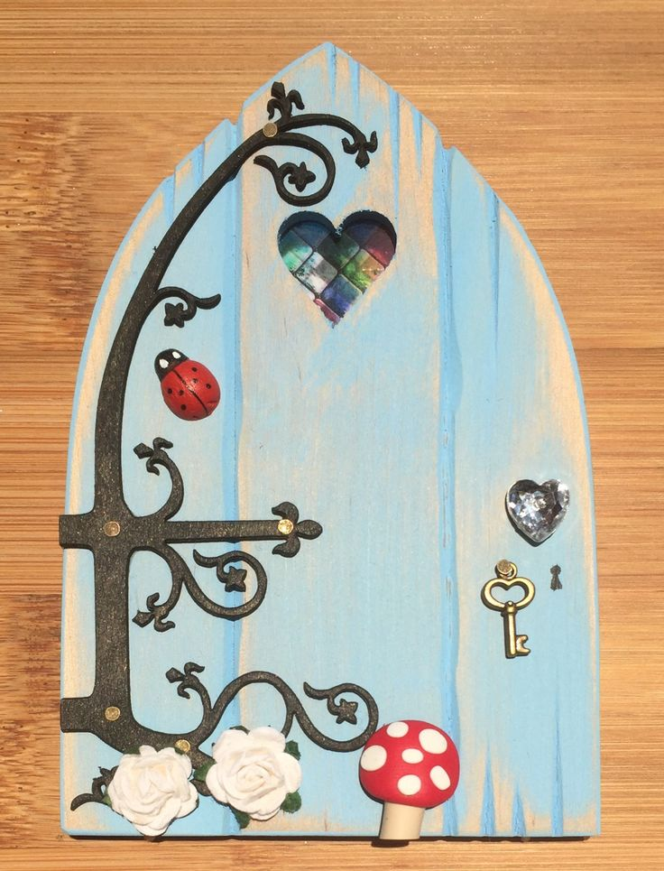 Oaktree Fairies - The Welsh Fairy Door Company. Sky Blue Fairy Door with new Fairytale hinge! www.oaktreefairies.co.uk