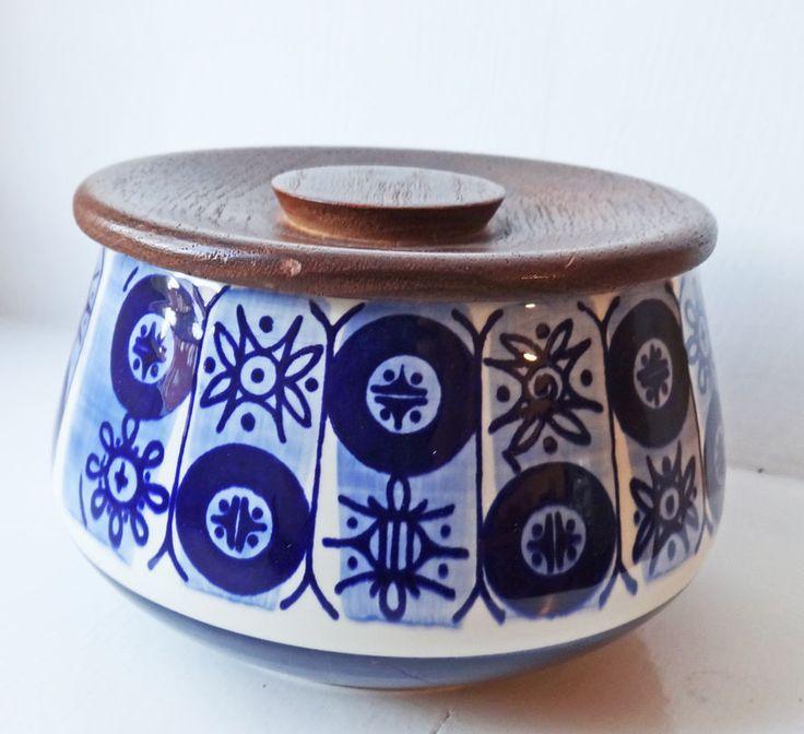 JIE Gantofta Keramik Dose PRISMA Nylund Teak Deckel Midcentury in Antiquitäten & Kunst, Porzellan & Keramik, Keramik | eBay