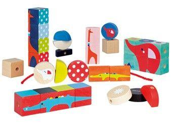 kubix dieren set met 30 blokjes Janod | kinderen-shop Kleine Zebra