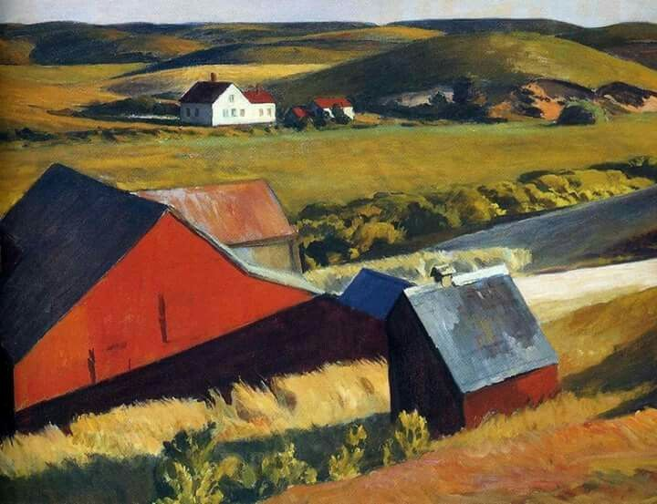 Edward Hopper (American, American Realism, 1882-1967): Cobb's Barn and Distant Houses, c. 1931. Oil on canvas.