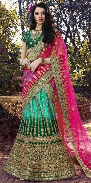 Admire Green And Pink Silk Designer Lehenga Choli With Dupatta.