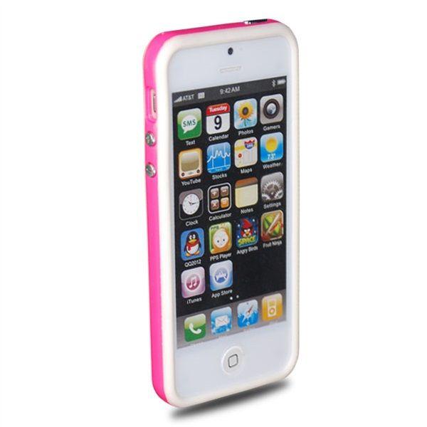 TPU & Silikon Bumper für Apple iPhone 5 & 5S Weiß-Rosa