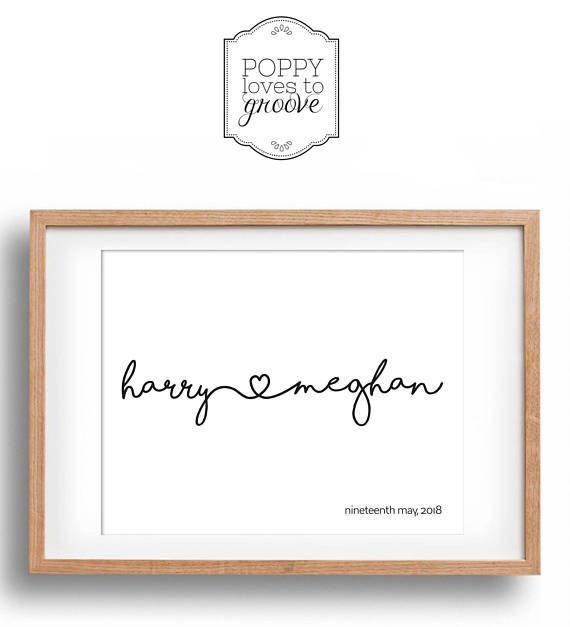 Personalised Engagement Gift  Couple's Name Print  Perfect for every couple, royal or otherwise! by poppylovestogroove