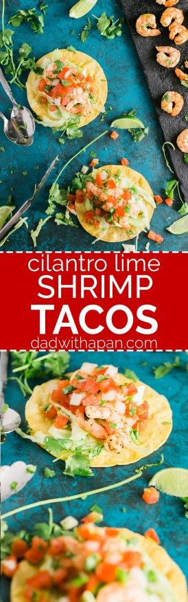 Grilled Shrimp Tacos Recipe with a quick cilantro lime marinade, with butter garlic and other seasonings. Great to make on a weeknight!