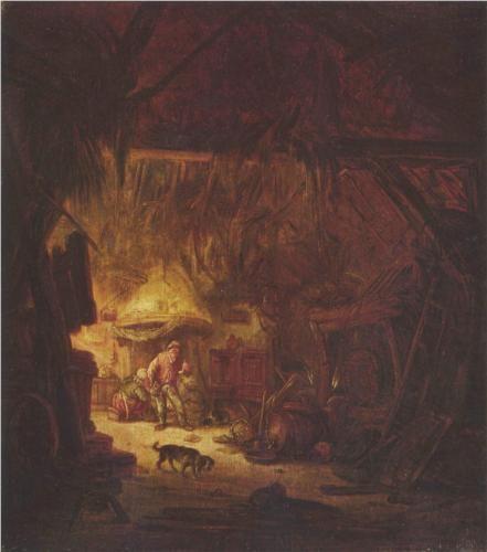 Interior of a Peasant House - Isaac van Ostade