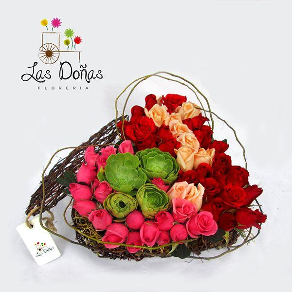 Florerias en Lima Peru : Floreria Las Doñas   Corazón fantasía de rosas : Florerias en Lima, Delivery de flores Peru, Arreglos florales en Lima