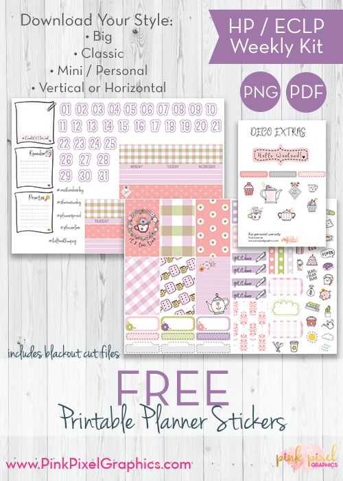 FREE Tea TIme weekly planner stickers: Download your free planner printable. These free kits will fit just about any planner. See more at www.pinkpixelgraphics.com