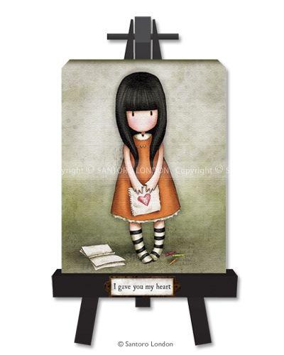 Gorjuss Canvas Easel Art - I Gave You My Heart - Santoro London
