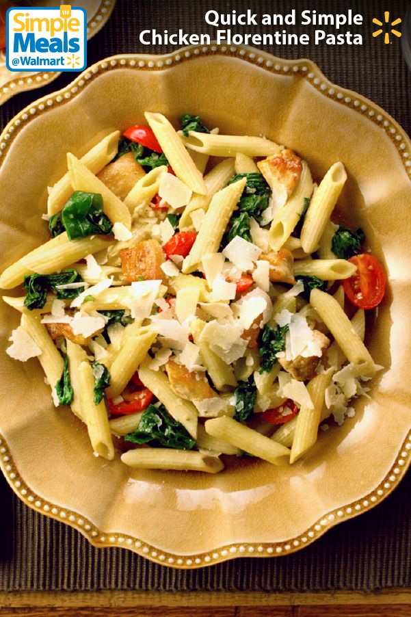 Looking for a delicious midweek meal that you can throw together in less than 30 minutes? This Chicken Florentine Pasta recipe from the Pioneer Woman is mouth-wateringly yummy AND super-easy to make. It's a perfect blend of savory Italian flavors like garlic and Parmesan with super-satisfying pasta, chicken, spinach and tomatoes. Try this recipe and other great Simple Meals from Walmart now.: