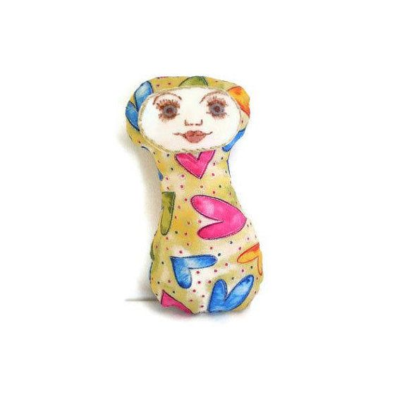 Art Doll Friendship Doll Hearts Pink Yellow by MissTreeCreations, $15.00