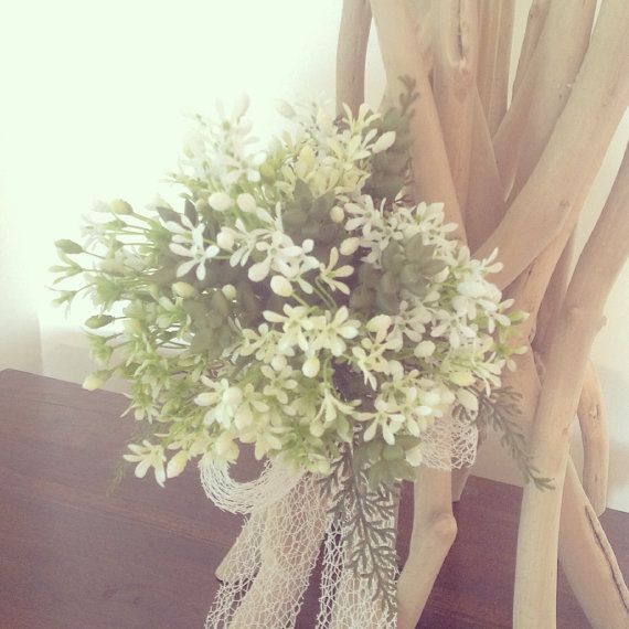 Artificial bride or bridesmaid bouquet posy.Pretty white flowers with green succulents and fern.Beach wedding, Boho bride on Etsy, $45.00 AUD