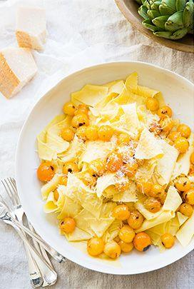 Maltagliati, Sungold Tomato, Parmigiano - The goop Cookbook Club | gooping recipes from Roberta's Cookbook | goop.com