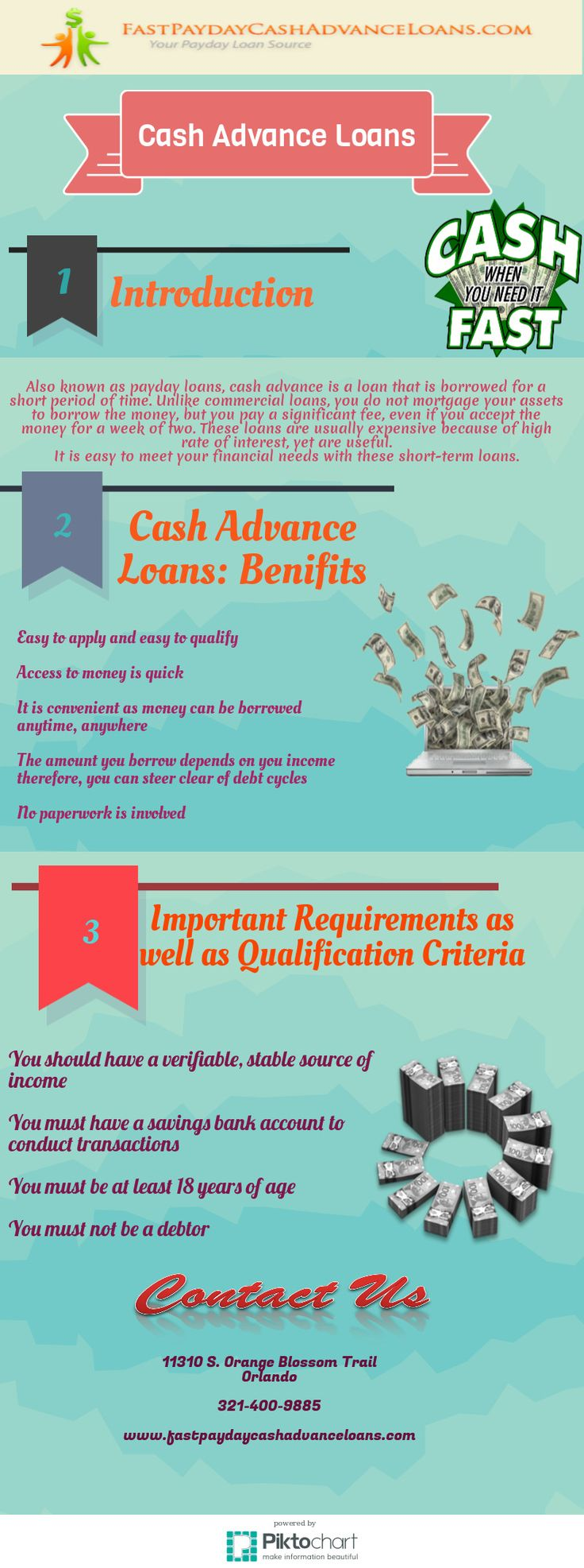 Also known as payday loans cash advance is a loan that is borrowed for a