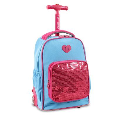 J World Sparkle Kids Rolling Backpack Sky Blue - KRB-15 SKY BLUE
