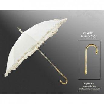 Dona un tocco di eleganza anche sotto la pioggia: ombrello bianco con swaroski