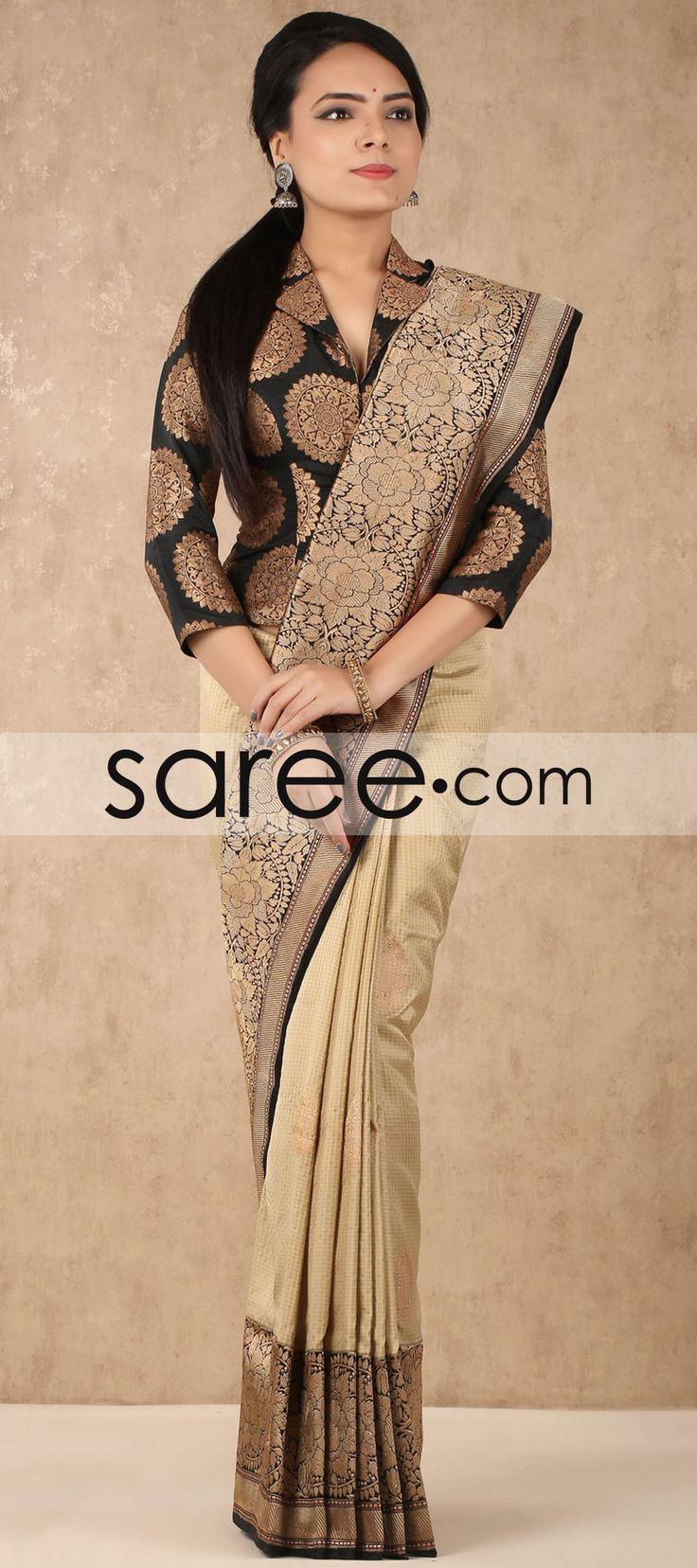 Cream and Black Banarasi Silk Saree with Weaving