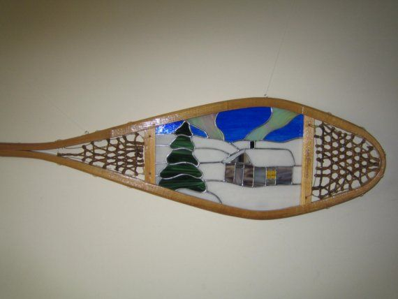 Cabin Stained Glass Snowshoe by StonehouseGlassworks on Etsy, $220.00