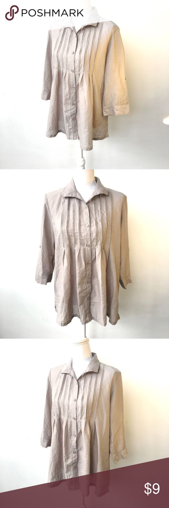 Grey pleated babydoll blouse, XL Loose, flowy fit. Sleeves can be tacked up. Pleats across chest. Very lightweight material. Tag is in Chinese so I can't tell you size or material, but it feels like an XL and a poly blend. The fabric has a subtle texturizing / teeny raised polka dotted weave. Empire waist / babydoll flare fit. Flattering! graceful days Tops Button Down Shirts