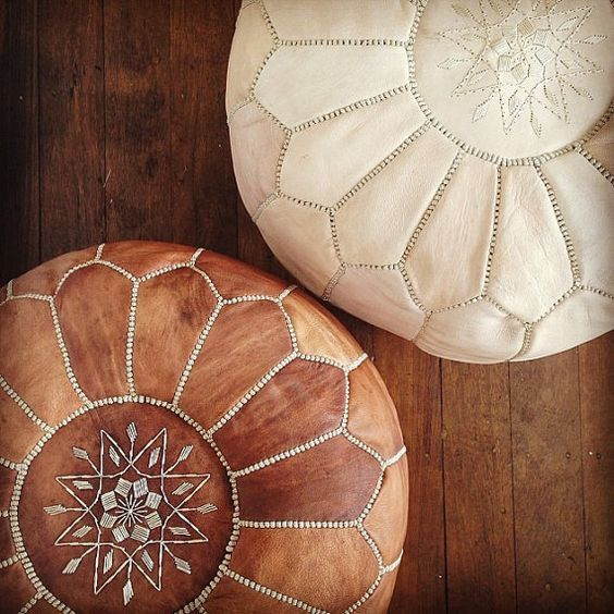 Set of 2 Moroccan pouf beautiful design and by MarrakechLifeStyle