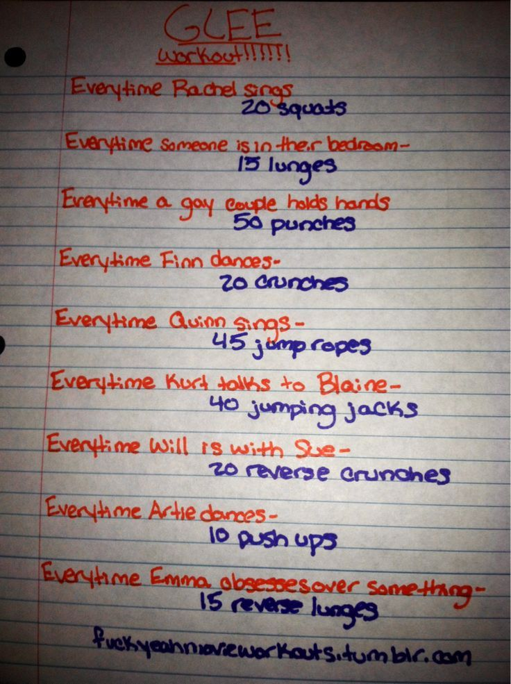 Glee workout!! Want to see more workouts like this one? Follow us here. Netflix TV Workouts, TV Workout Games