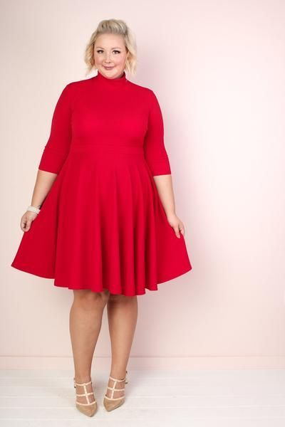 9571186b8cf Ava Mock Neck Dress - Red in 2019