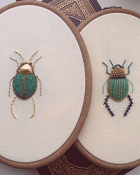 Xylophage (n.) a wood eating insect . . I completed embroidering these two buggers yesterday for a lovely lady who wanted to hang them in her kitchen nook  #TheOldeSewingRoom
