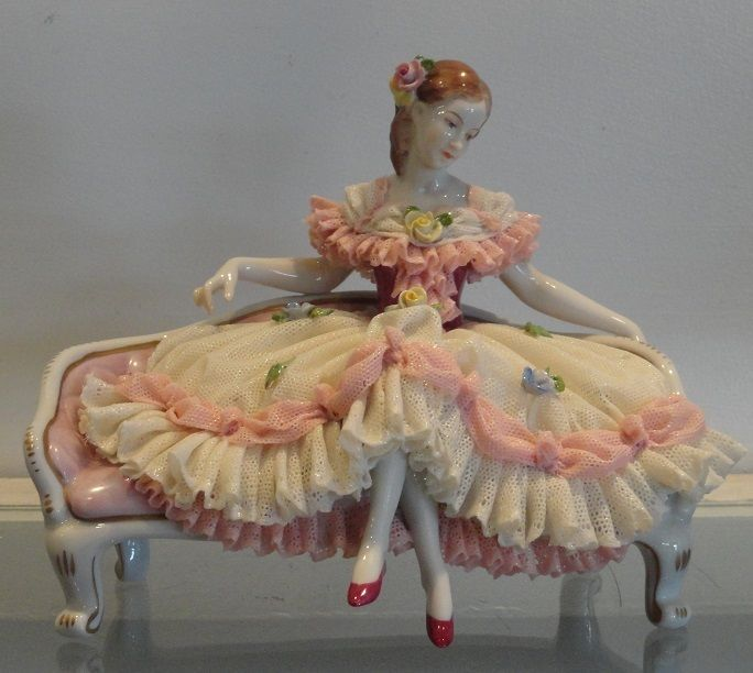 Dresden Porcelain Manufactory (Germany) —  Vintage Dresden Lace  Figurine w Seated Lady    (684x612):