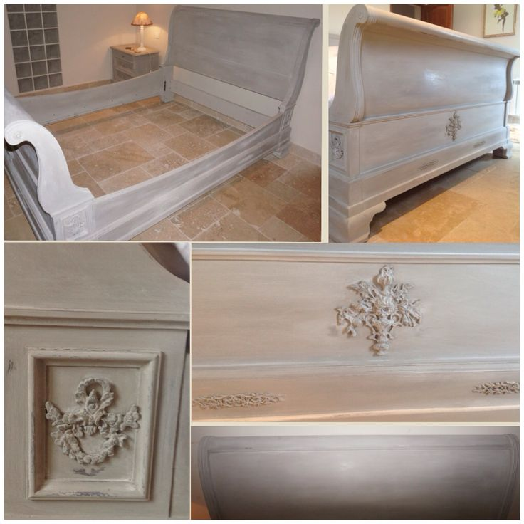 French sleigh bed beautifully painted in Annie Sloan Old White & French linen