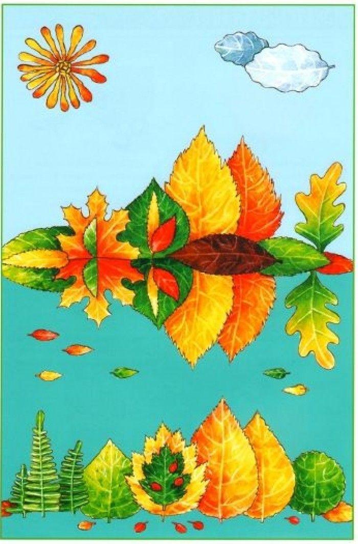 аппликация из осенних листьев, фото 19